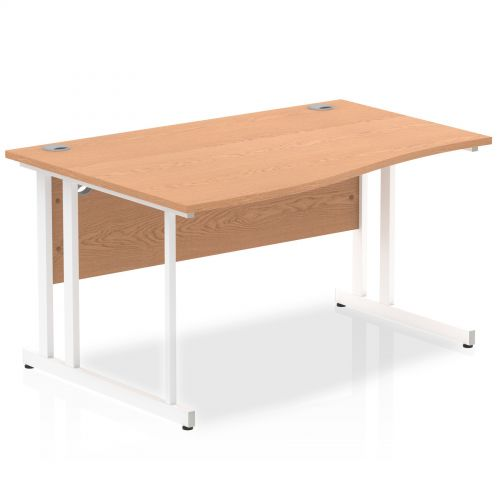Impulse 1400 Left Hand White Cantilever Leg Wave Desk Oak