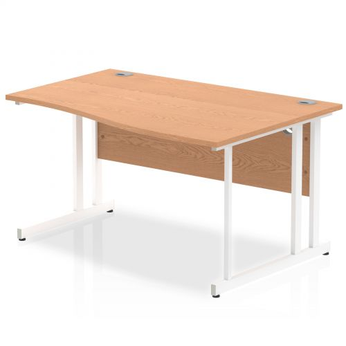 Impulse 1400 Right Hand White Cantilever Leg Wave Desk Oak