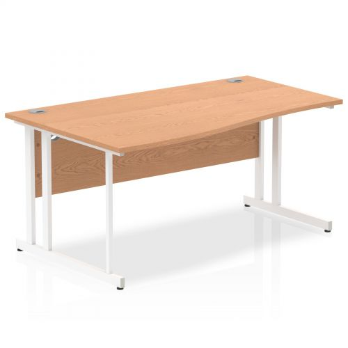 Impulse 1600 Left Hand White Cantilever Leg Wave Desk Oak