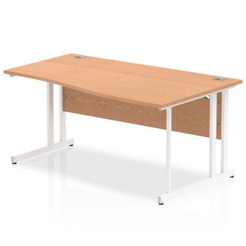 Impulse 1600 Right Hand White Cantilever Leg Wave Desk Oak