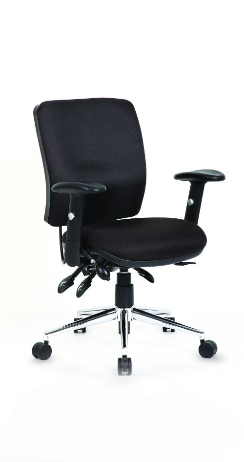 Chiro Medium Back Chair with Arms Black OP000010