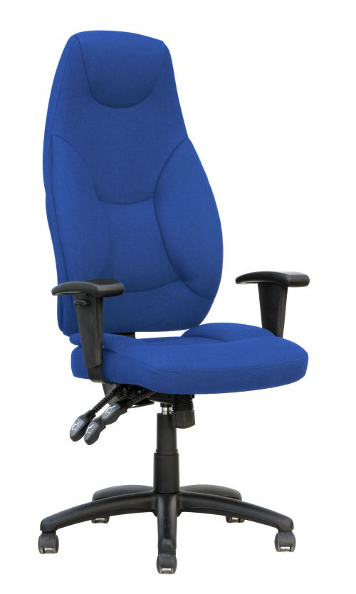 Galaxy Task Operator High Back Chair Blue Fabric With Arms