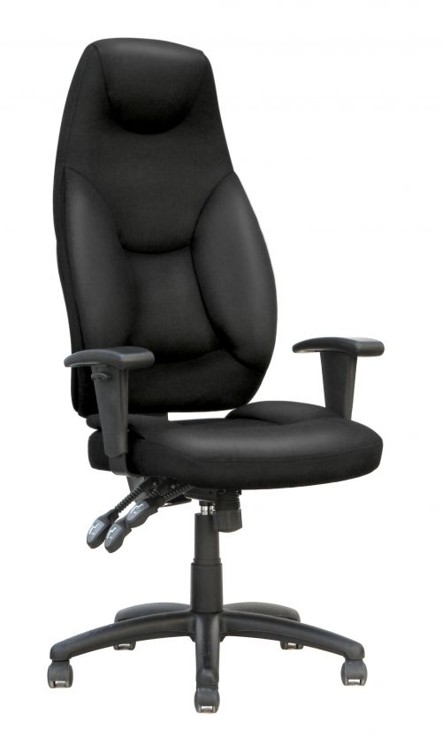 Galaxy Task Operator High Back Chair Black Leather With Arms