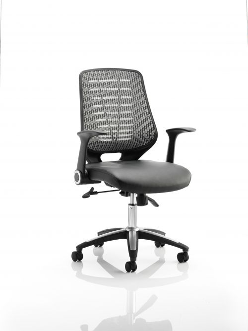 Relay Chair Leather Seat Silver Back With Arms OP000118