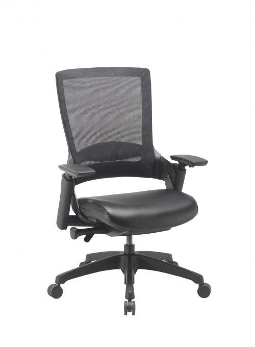 Executive Task  Chair Black Frame Black Mesh Back,  Black Leather Seat Chair