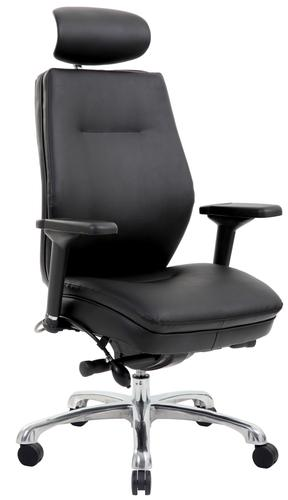 Domino Black Bonded Leather Chair with Headrest PO000065