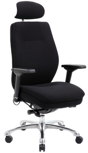 Domino Black Fabric Chair with Headrest PO000066