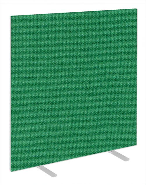 Impulse Plus Oblong 1500/1200 Floor Free Standing Screen Palm Green Fabric Light Grey Edges