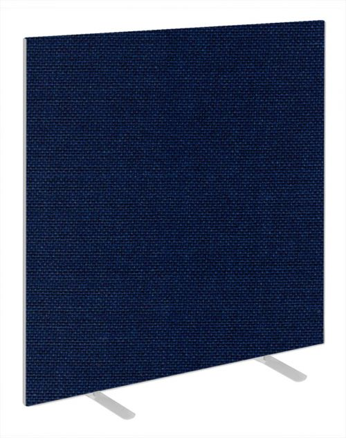 Impulse Plus Oblong 1500/1200 Floor Free Standing Screen Royal Blue Fabric Light Grey Edges