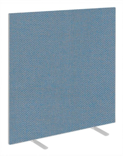 Impulse Plus Oblong 1500/1200 Floor Free Standing Screen Sky Blue Fabric Light Grey Edges
