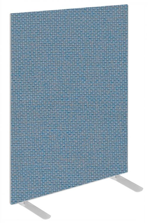Impulse Plus Oblong 1200/800 Floor Free Standing Screen Sky Blue Fabric Light Grey Edges