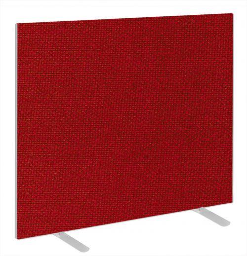 Impulse Plus Oblong 1200/1000 Floor Free Standing Screen Burgundy Fabric Light Grey Edges