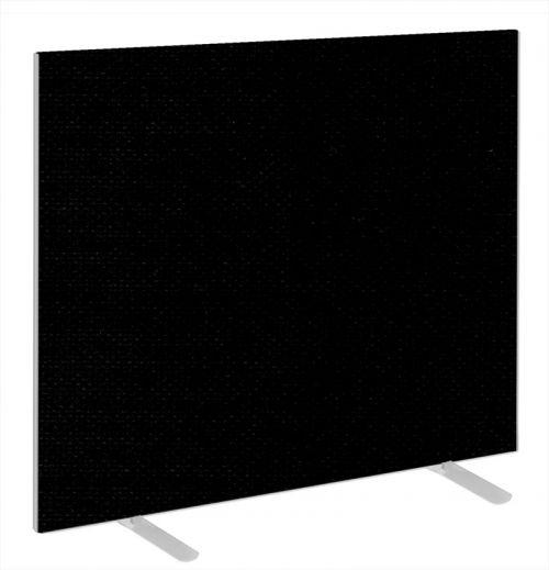 Impulse Plus Oblong 1200/1400 Floor Free Standing Screen Black Fabric Light Grey Edges