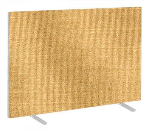 Impulse Plus Oblong 1200/1600 Floor Free Standing Screen Beige Fabric Light Grey Edges