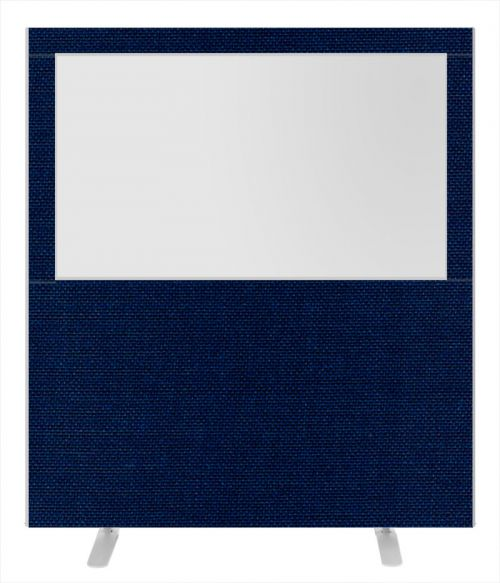 Impulse Plus Clear Half Vision 1800/1600 Floor Free Standing Screen Royal Blue Fabric Light Grey Edges