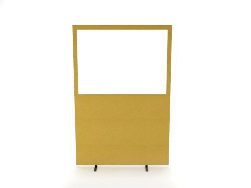 Impulse Plus Clear Half Vision 1800/1200 Floor Free Standing Screen Beige Fabric Light Grey Edges