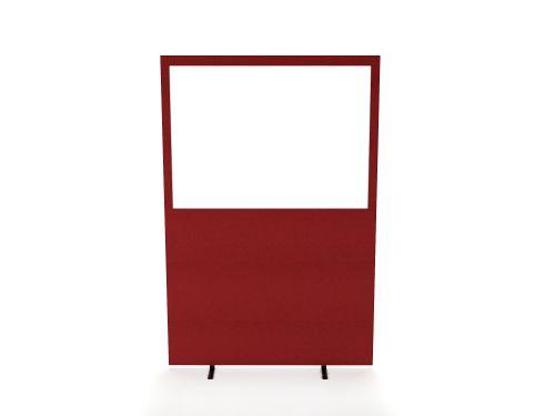 Impulse Plus Clear Half Vision 1800/1200 Floor Free Standing Screen Burgundy Fabric Light Grey Edges