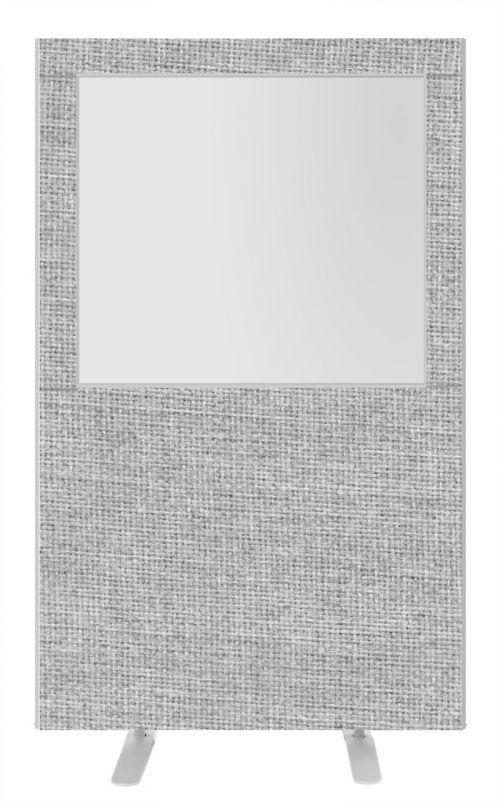 Impulse Plus Clear Half Vision 1800/1200 Floor Free Standing Screen Light Grey Fabric Light Grey Edges