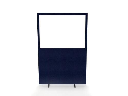 Impulse Plus Clear Half Vision 1800/1200 Floor Free Standing Screen Royal Blue Fabric Light Grey Edges