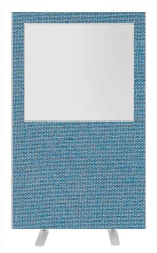 Impulse Plus Clear Half Vision 1800/1200 Floor Free Standing Screen Sky Blue Fabric Light Grey Edges