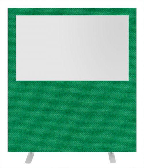 Impulse Plus Clear Half Vision 1650/1600 Floor Free Standing Screen Palm Green Fabric Light Grey Edges