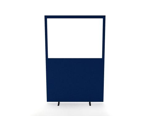 Impulse Plus Clear Half Vision 1650/1600 Floor Free Standing Screen Powder Blue Fabric Light Grey Edges