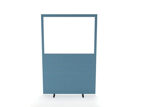 Impulse Plus Clear Half Vision 1650/1600 Floor Free Standing Screen Sky Blue Fabric Light Grey Edges