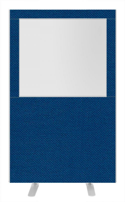 Impulse Plus Clear Half Vision 1650/1200 Floor Free Standing Screen Powder Blue Fabric Light Grey Edges