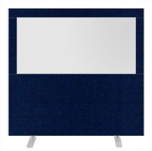 Impulse Plus Clear Half Vision 1500/1600 Floor Free Standing Screen Royal Blue Fabric Light Grey Edges