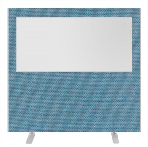 Impulse Plus Clear Half Vision 1500/1600 Floor Free Standing Screen Sky Blue Fabric Light Grey Edges