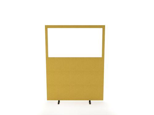 Impulse Plus Clear Half Vision 1500/1200 Floor Free Standing Screen Beige Fabric Light Grey Edges