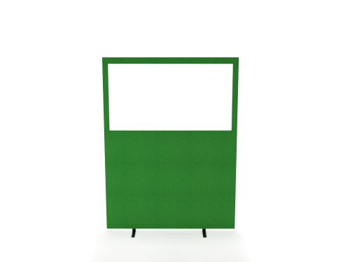 Impulse Plus Clear Half Vision 1200/1200 Floor Free Standing Screen Palm Green Fabric Light Grey Edges