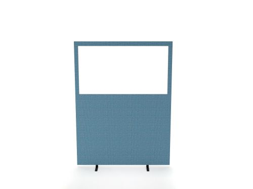 Impulse Plus Clear Half Vision 1200/1200 Floor Free Standing Screen Royal Blue Fabric Light Grey Edges