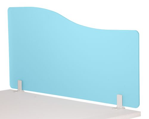Wave 400/1800 Desktop Divider Rounded Corners Frosted Light Blue 6mm Acrylic