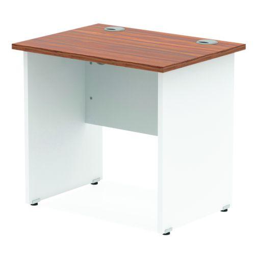 Impulse Panel End 800/600 Rectangle Desk Walnut Top White Panels
