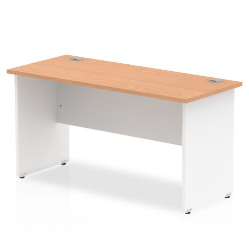 Impulse Panel End 1400/600 Rectangle Desk Oak Top White Panels