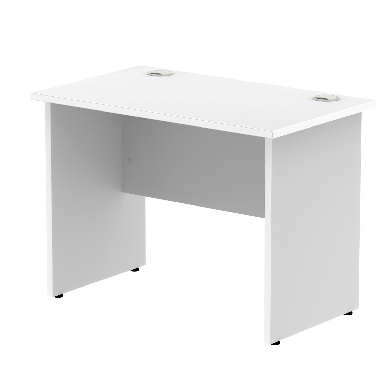 Rectangular Desks Impulse 1000 x 800mm Straight Desk White Top Panel End Leg MI000392