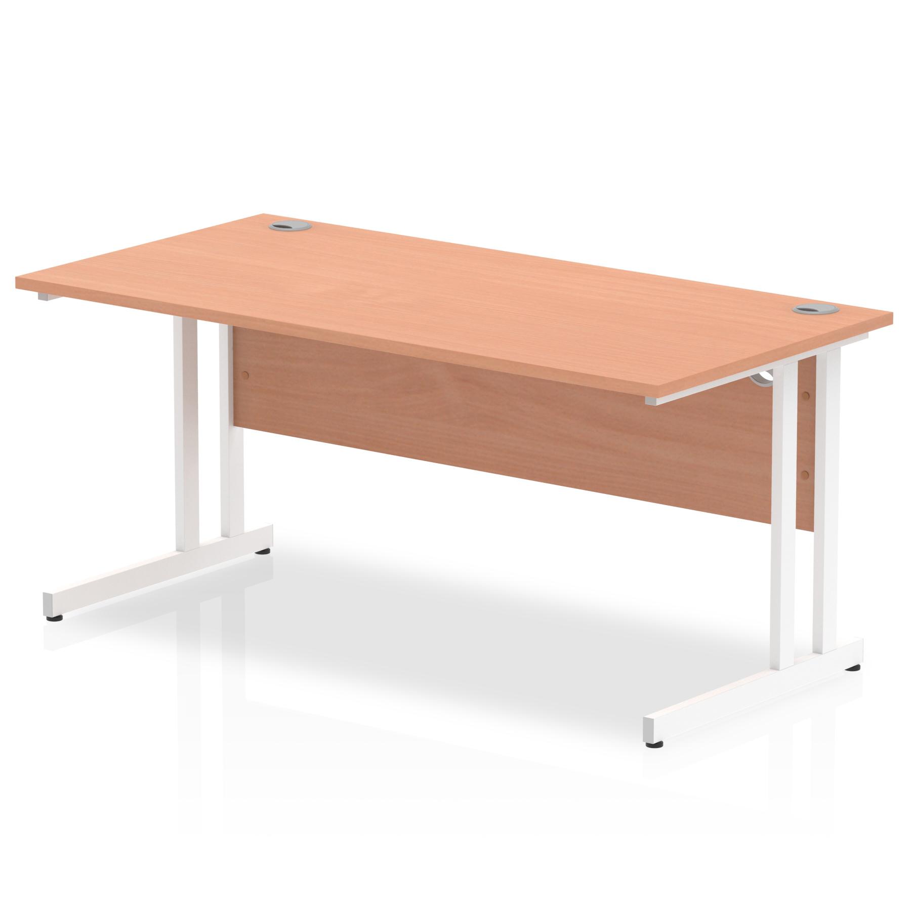 Rectangular Desks Impulse 1600 x 800mm Straight Desk Beech Top White Cantilever Leg MI001676