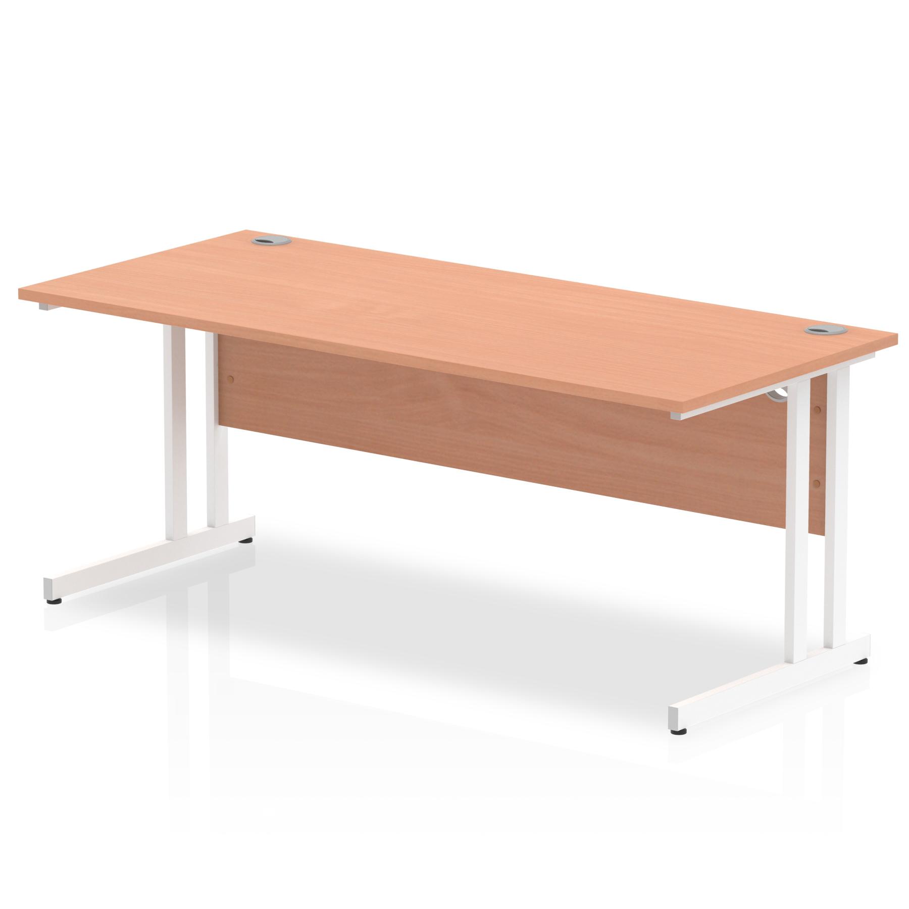 Rectangular Desks Impulse 1800 x 800mm Straight Desk Beech Top White Cantilever Leg MI001677