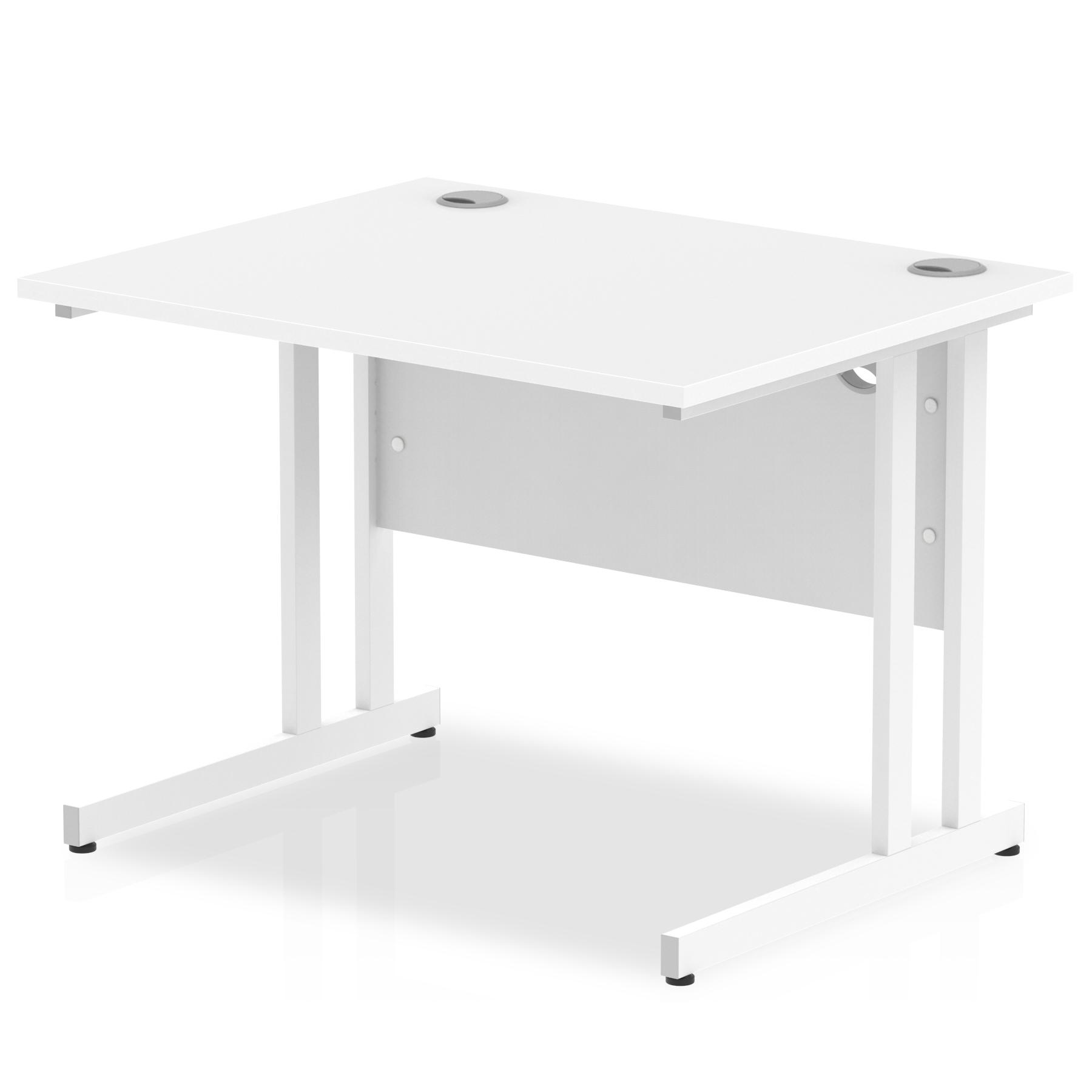 Rectangular Desks Impulse 1000 x 800mm Straight Desk White Top White Cantilever Leg MI002190