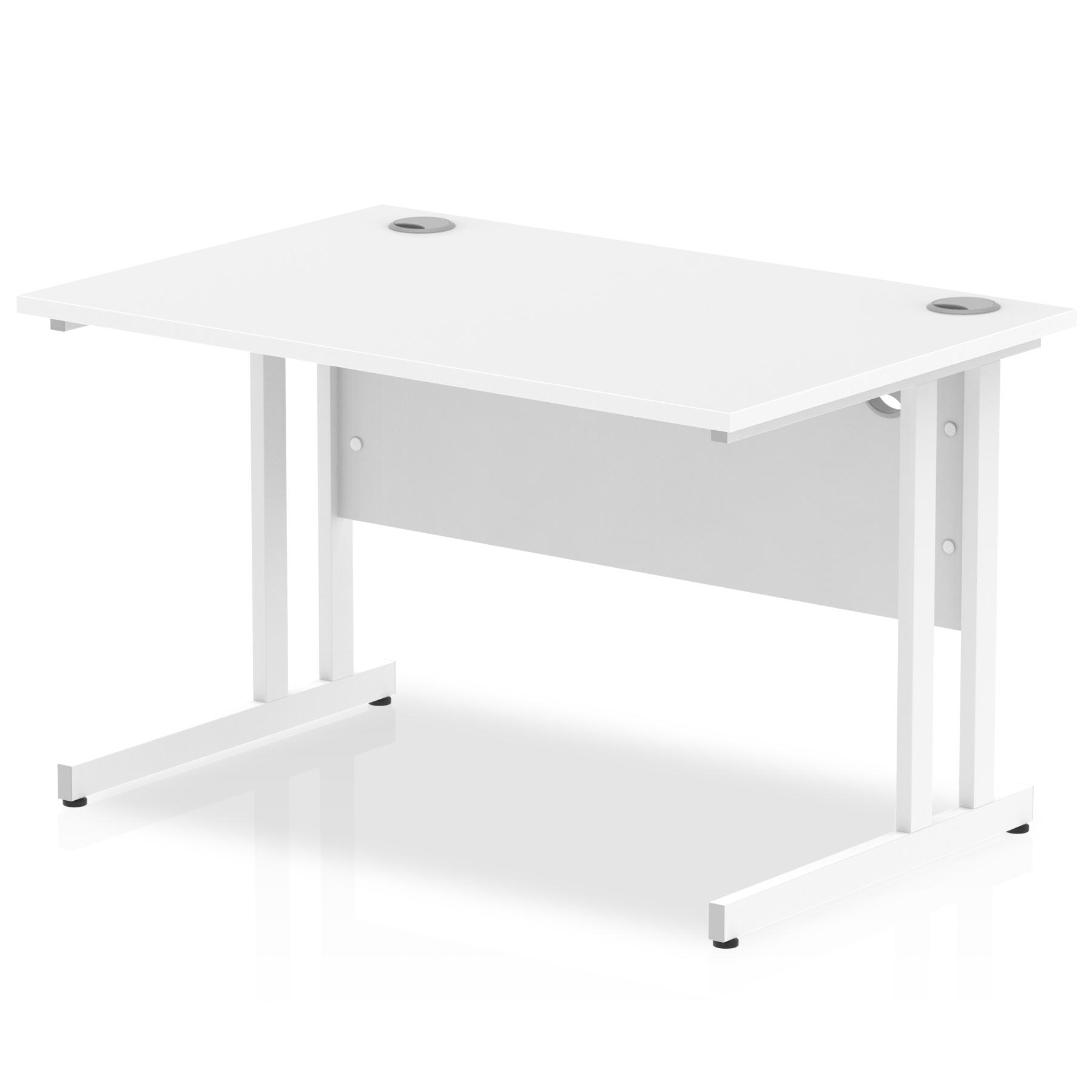 Rectangular Desks Impulse 1200 x 800mm Straight Desk White Top White Cantilever Leg MI002191