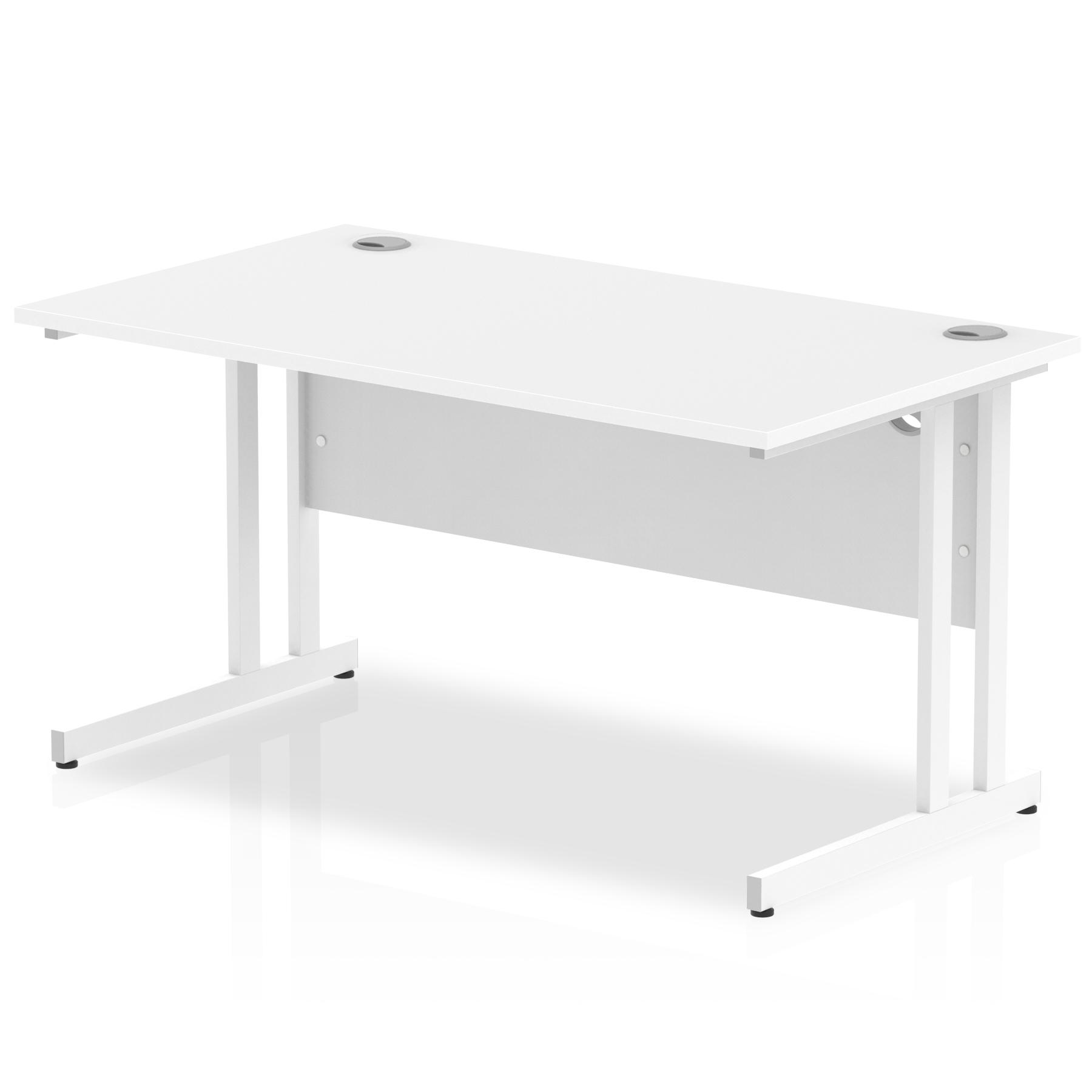 Rectangular Desks Impulse 1400 x 800mm Straight Desk White Top White Cantilever Leg MI002192