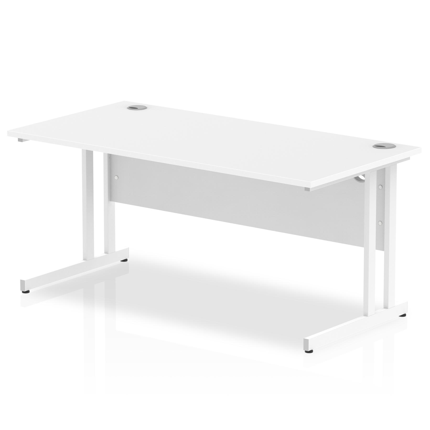 Rectangular Desks Impulse 1600 x 800mm Straight Desk White Top White Cantilever Leg MI002193