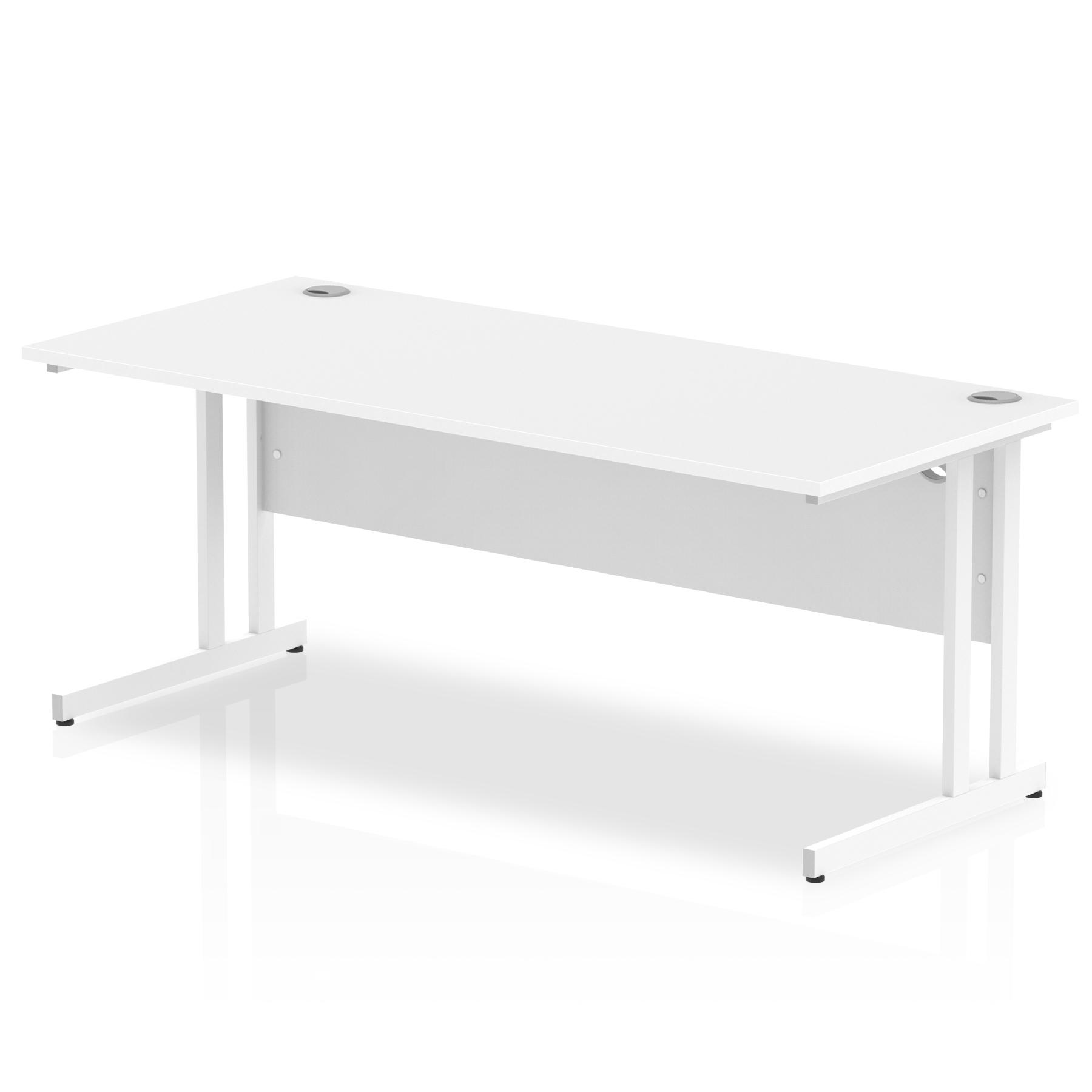 Rectangular Desks Impulse 1800 x 800mm Straight Desk White Top White Cantilever Leg MI002194