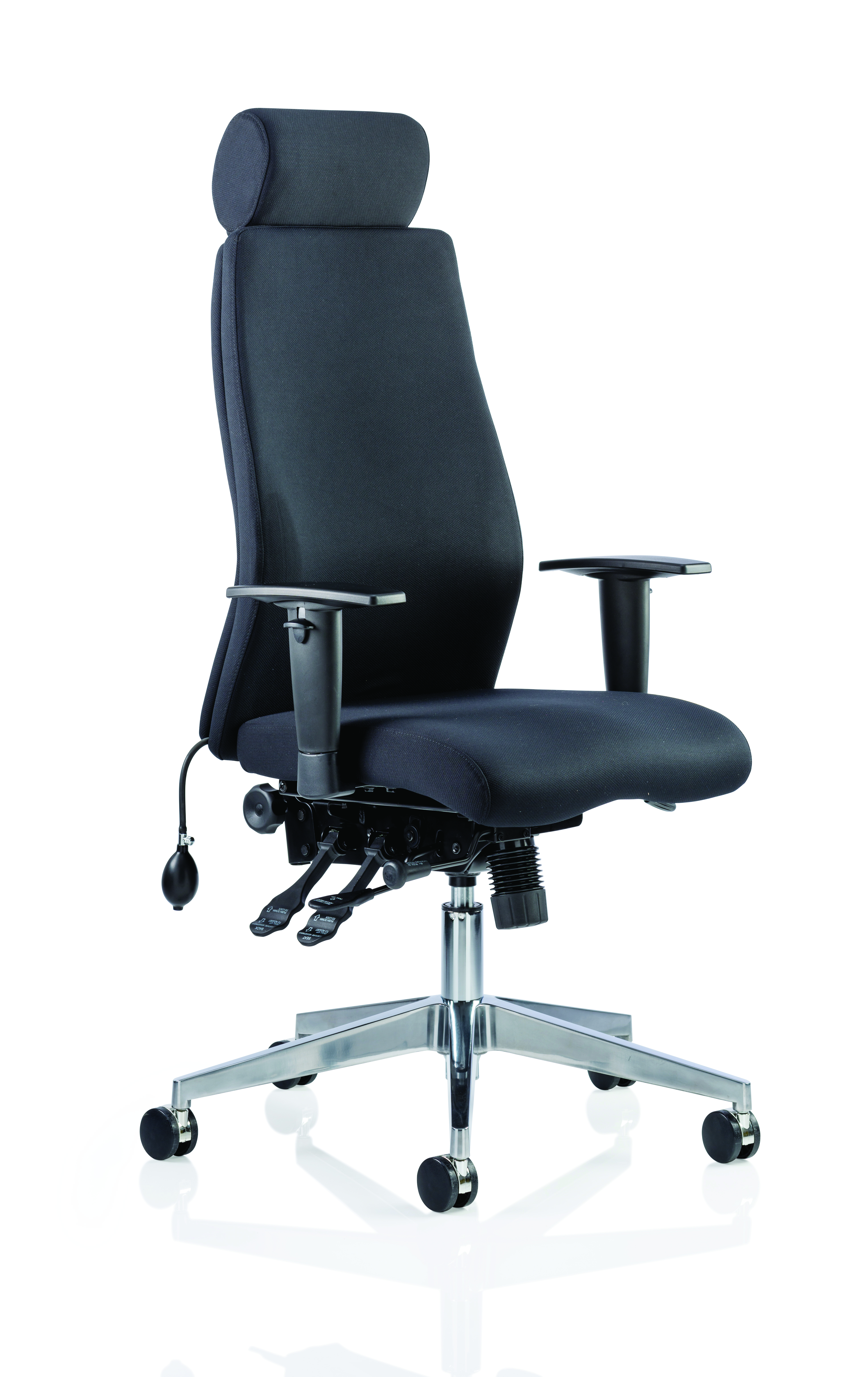 Desk Chairs Onyx Black Fabric With Headrest With Arms OP000094
