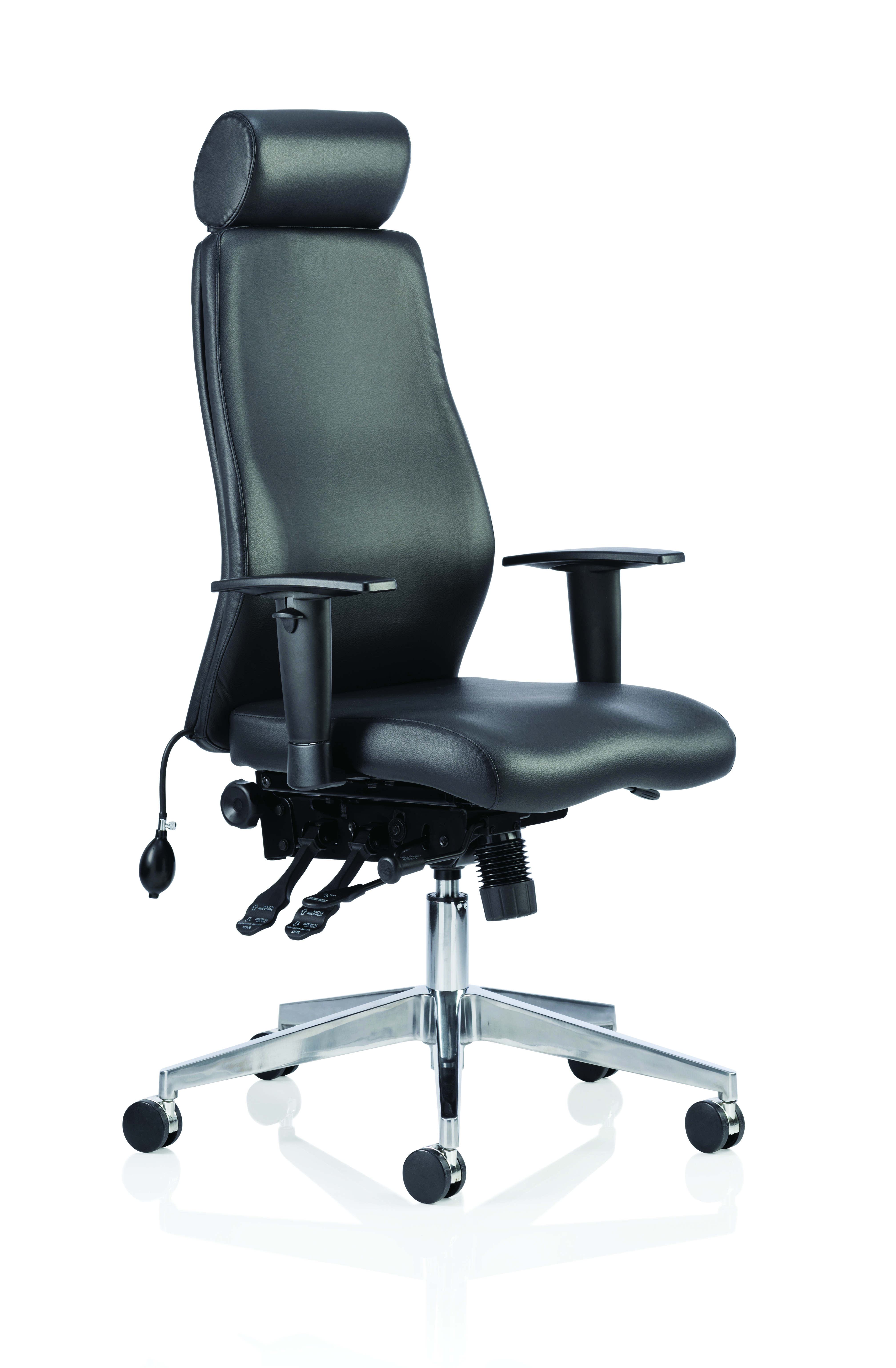 Desk Chairs Onyx Black Soft Bonded Leather With Headrest With Arms OP000098