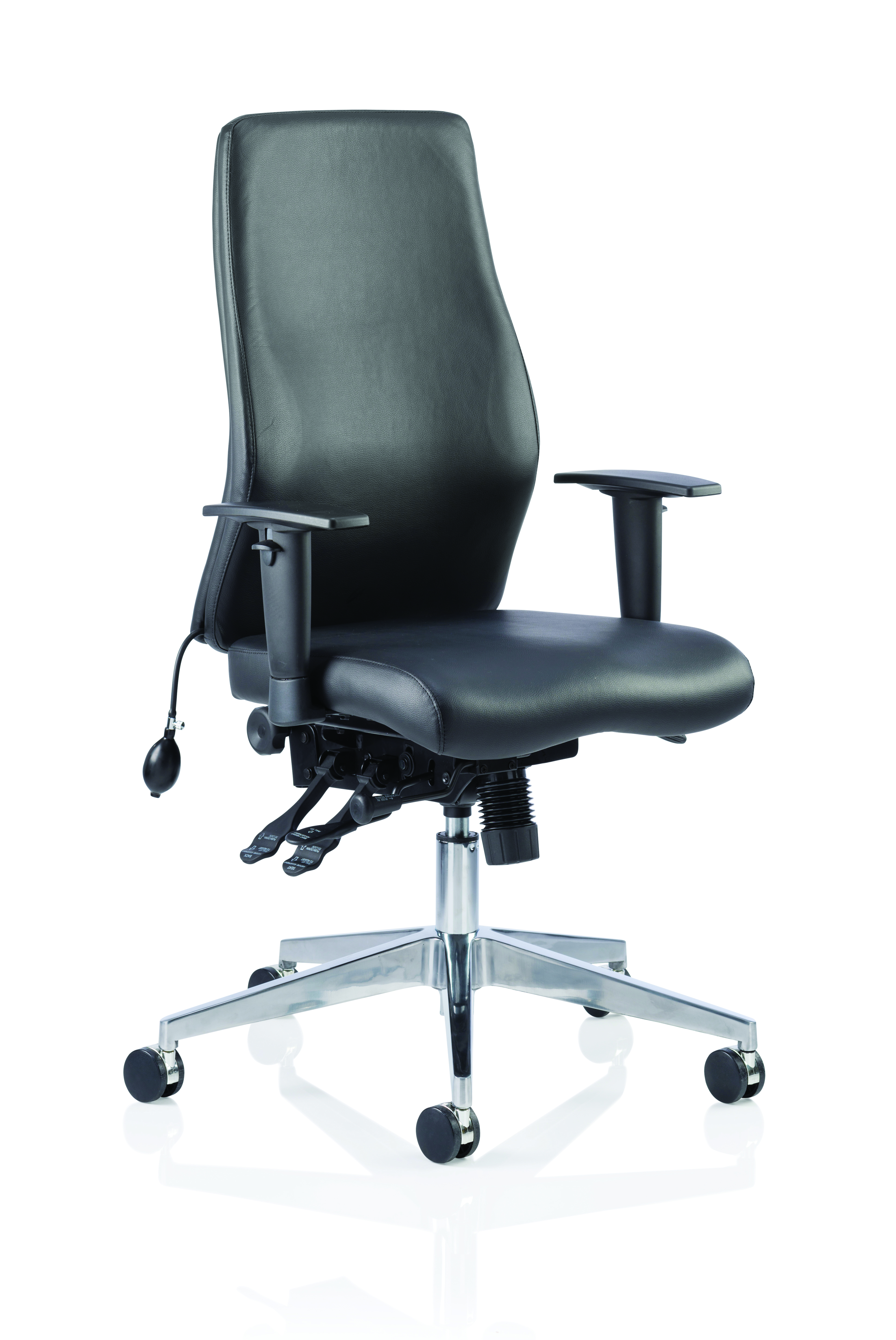 Desk Chairs Onyx Black Soft Bonded Leather Without Headrest With Arms OP000099
