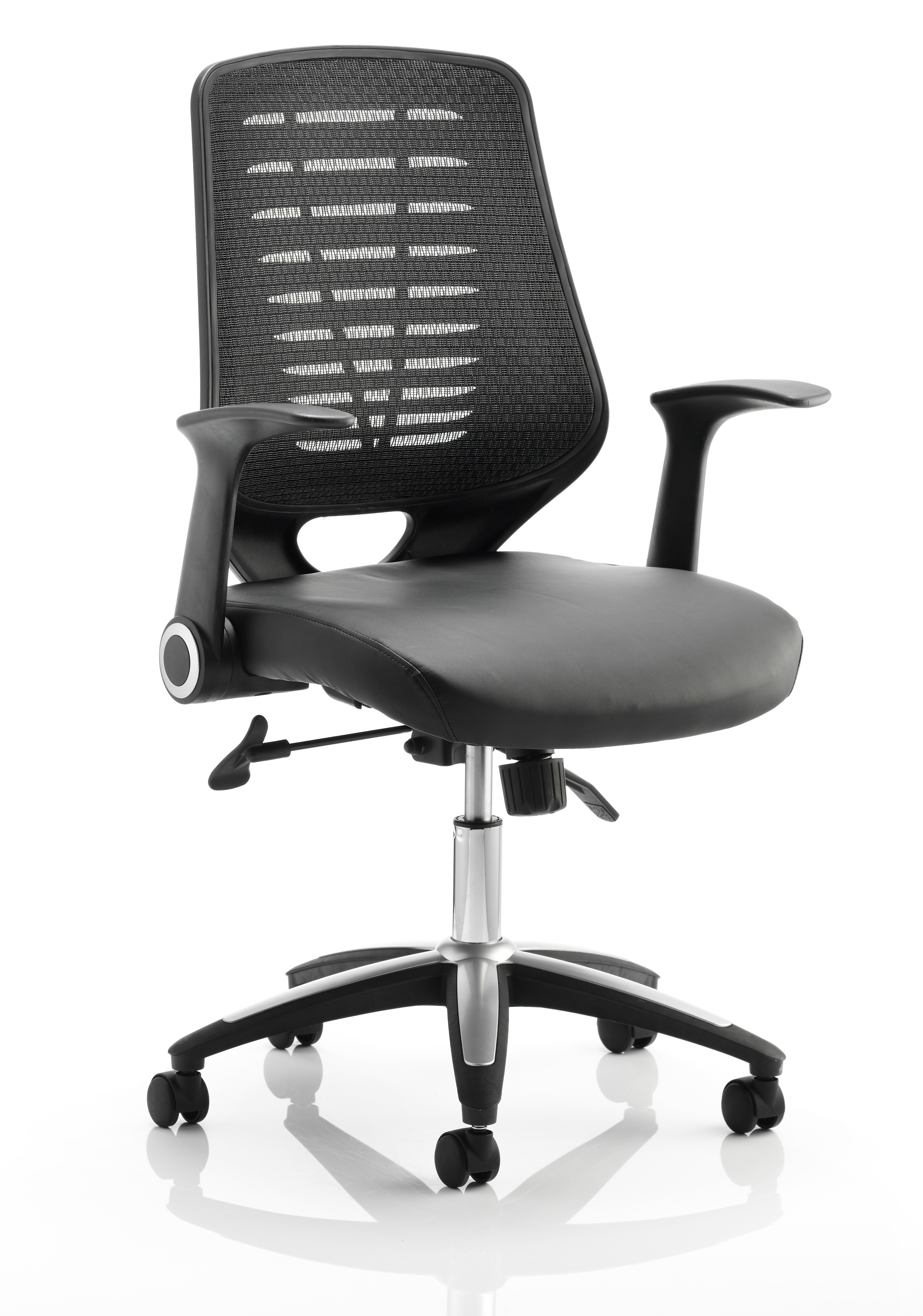 Desk Chairs Relay Chair Leather Seat Black Back With Arms OP000117