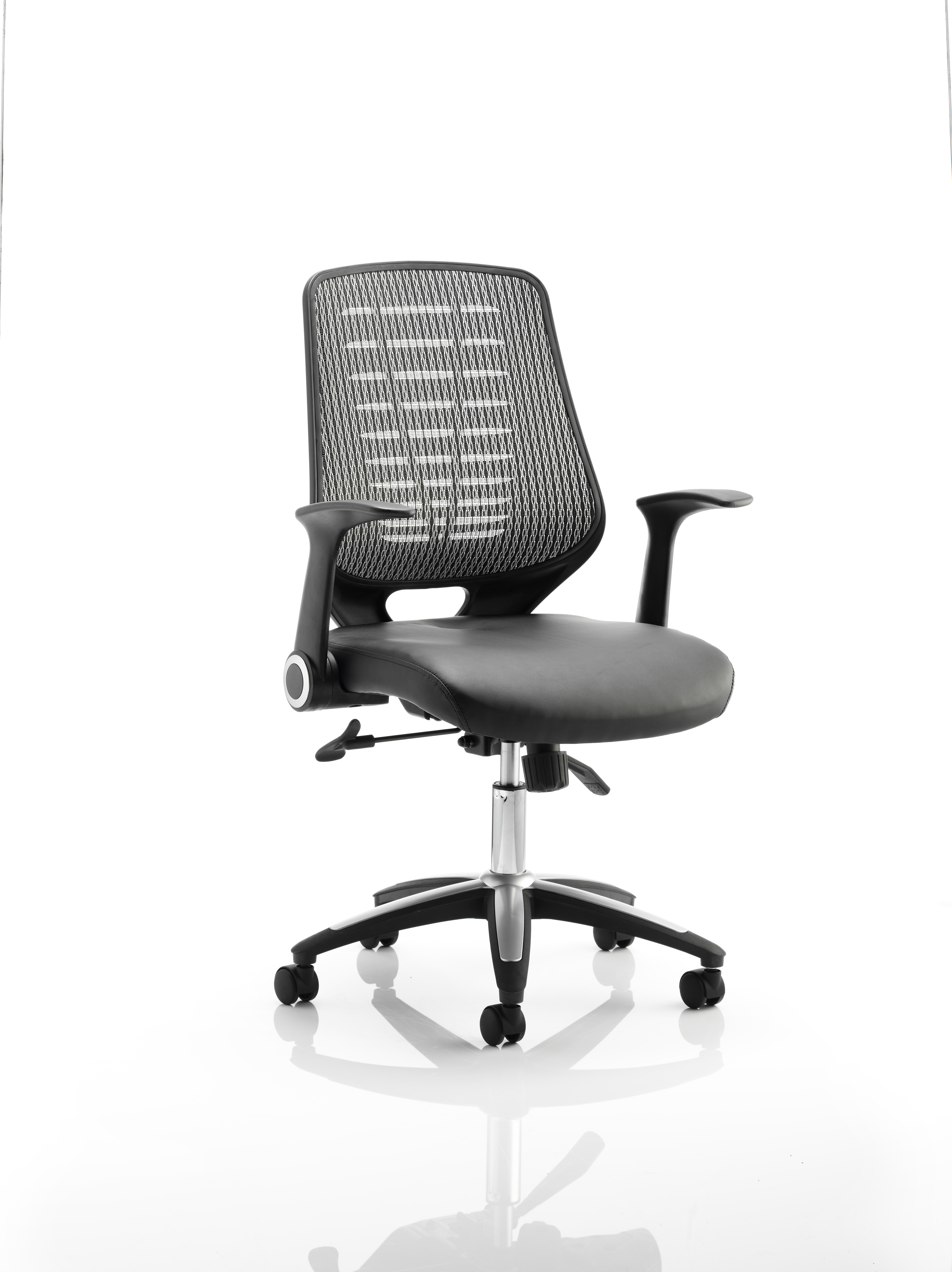 Desk Chairs Relay Chair Leather Seat Silver Back With Arms OP000118