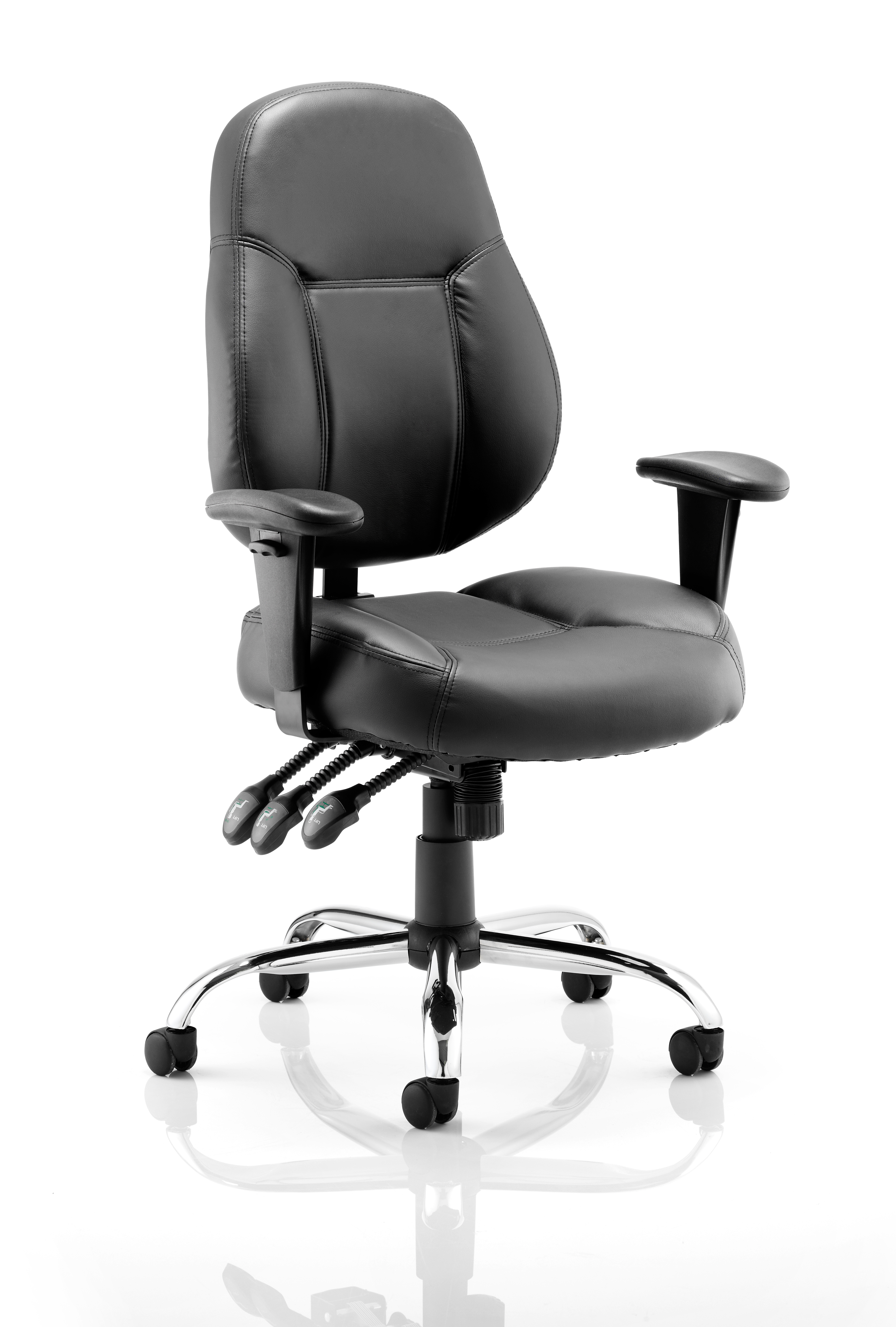 Desk Chairs Storm Chair Black Soft Bonded Leather With Arms OP000129